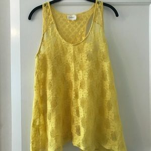 Anthropologie yellow lace tank